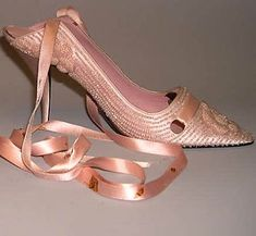 Shoes by Roger Vivier for Dior (silk, leather & glass), c.1957. Met Museum.