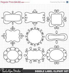 60% OFF SALE Clip Art Doodle Frames Digital Borders Downloadable Clip Art Images Cute Digital Frame Instant Download