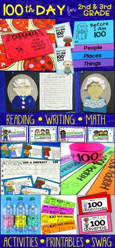 100th Day activities for 2nd-3rd grade with reading, writing, and math activities plus lots of 100th day swag!