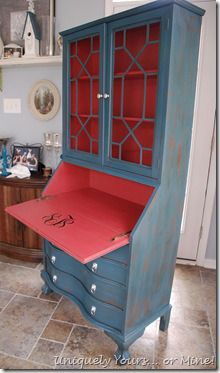 Portfolio-Dressers/Cabinets/Buffets | Uniquely Yours... or Mine!  Like the two tone idea. One color inside a different color outside