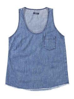 Regata feminina Fechamento de botões Barra em renda Marca  Blue ... b415e2bbf3d