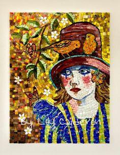 MILA 30 x 40 cm smalti, vidrios y millefiori By Lily Calderon - Chile