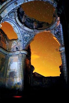 Inside the ghost town of Belchite, Spain. Mysterious and ethereal.