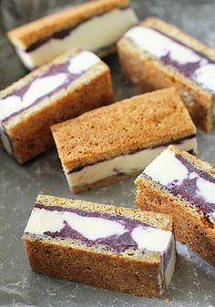 Frozen Yogurt Sandwiches with Blueberry Swirl: This recipe is frozen overnight and then large sandwich is cut into any size mini sandwich bar and can be stored for a week. Great for after school snacks, play dates or parties