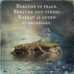 Breathe in peace. Breathe out stress. Repeat as often as necessary.