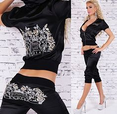 Designer Redial Hot And Sexy New Black Diamante Studded Celebrity Celeb Style Satin Embroidered Active Sport Wear Sportswear Hooded Hoody Casual Jogging Short Sleeve Top Jacket Capri Pants 2 Piece Tracksuit Club Outfit UK Size 8-12