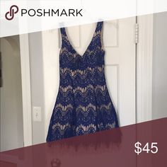 Blue lace dress Royal blue over beige. Tulle at the bottom. Worn once! Dresses