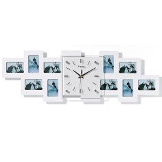 wall clock with picture frames Wall Clock With Pictures, Clocks, Picture Frames, Interior Design, Home Decor, Clock, Portrait Frames, Nest Design