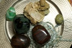 Kabumba Jasper and selected beauties on a pounded silver tray. Crystals like metals. Photo by 11:11 Productions