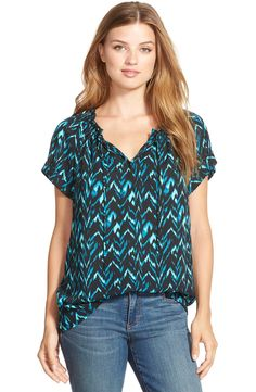 Caslon® Cuffed Sleeve Peasant Top (Regular & Petite) - right colors, though maybe a bit too boho for me?