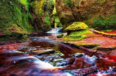 Red river through a gorge in Finnich Glen (The Devil's Pulpit). The river turns red because of the red rock residue. Click through to see 28 mimnd blowing photos of Scotland!