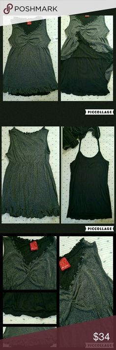 Ella Moss Ruffled 2pc Tunic Top Lettuce Trim Bnwt  Girls sz 14 Msrp  $46 ELLA MOSS Kids Girls SZ 14 tunic top w/attached Cami (sewn into the upper layer by strap at top..asi in pics) Self rayon Contrast modal/cotton Adorable tunic top!! Longer length to look good w/leggings!! Ruffled at hem, bottom layer has a lettuce hem that rolls up slightly  (see pics) lettuce trim at neckline, empire waist  Dark grey top layer bottom is black Offers are encouraged xoxo Ella Moss Shirts & Tops