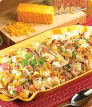 Potato Salad: Cheddar  Bacon Twice Baked- Red-skin potatoes in a sour cream and ranch dressing, loaded with shredded Cheddar cheese, bacon and sliced green onions.    Chilled Salad Serving Guidelines: Plan on at least 4 oz. per person when served as a side dish.