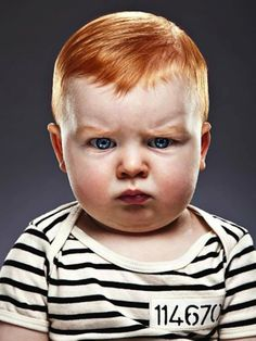 I think this picture does injustice to redheads: an angry face and prison stripes. I can't believe that a photographer can't do better than this! This photo is shameful. Precious Children, Beautiful Children, Beautiful Babies, Funny Kids, Cute Kids, Cute Babies, Baby Kind, Baby Love, Little People