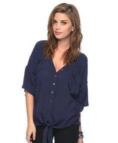 Navy button-up