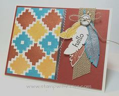 Stampin' Up!'s Four Feathers and Ikat stamp sets combine for a Native American look.  Details can be found at http://stampwithkriss.com/four-feathers-and-eye-catching-ikat.