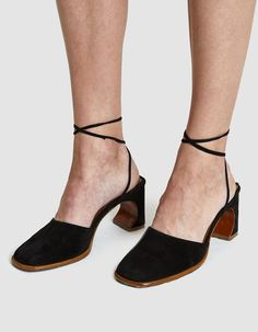 aafc29daee89 By Far Shoes   Iris Heel in Black Suede. Ankle Strap ...