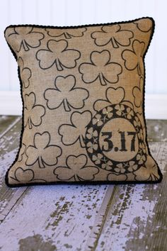 SALE//  St Patrick's Shamrocks Pillow cover by MonMellDesigns, $32.00