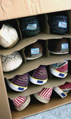 Wine Box Shoe Organization