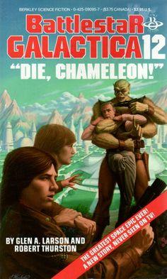 """Publication: """"Die, Chameleon!""""  Authors: Glen A. Larson , Robert Thurston Year: 1986-05-00 ISBN: 0-425-09095-7  Publisher: Berkley Books  Cover: James Warhola"""