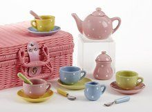 """4.25"""" Porcelain 17 Piece Tea Set with Basket, Dots. Available at OurPamperedHome.com"""