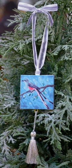 "$15 Scissor-tailed Flycatcher Mini Canvas Ornament / by Marie Kash Weltzheimer at ArtistsHoliday ~ 9"" x 2"""