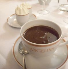 A luxurious cup of L'Africain hot chocolate from Angelina in Paris