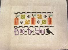 Completed Lizzie Kate Halloween Cross Stitch Picture - Boo to You