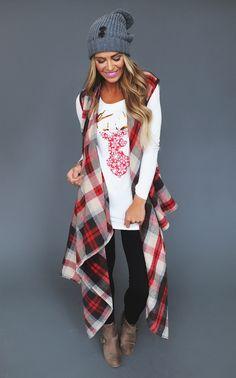 Plaid Draped Front Vest- Brown/Red - Dottie Couture Boutique