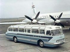Ikarus 55 bus and an IL 18 aircraft of Malév. Bus Camper, Campers, Jorge Martinez, Retro Bus, Bus City, Bbs, Train Truck, Bus Coach, Automobile