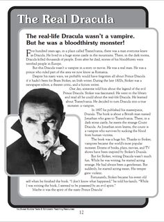 Dracula reading comprehension