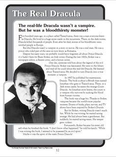 Dracula reading comprehension