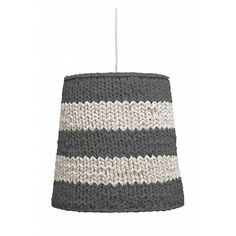 HK-living Hanging lamp made of cotton knit, gray / cream, Ø35x34cm