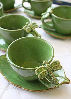 Dragonfly coffee mugs tea cups leaf saucers