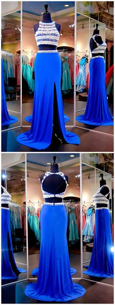 Two Piece Sheath/Column Scoop Neck Chiffon Tulle Sweep Train Split Front Prom Dresses