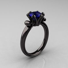 Antique 14K Black Gold 1.5 CT Blue Sapphire Designer Ring AR127-14KBGBS