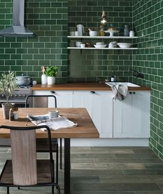 Astrea™ Fern Green Tile from Topps Tiles - 20x10, for utility above worksurface?