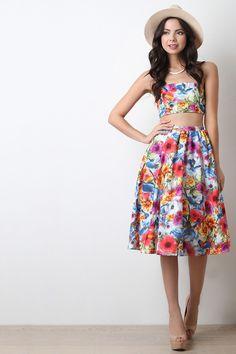 Vibrant Floral Print High Waist Skirt