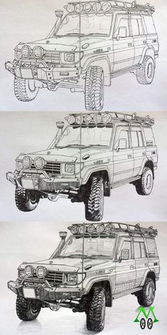 Military Vehicles: 41 Tank Ideas - New Toyota Land Cruiser Prado, Fj Cruiser, Land Cruiser 70 Series, Toyota 4x4, Nissan Patrol, Roller, Expedition Vehicle, Car Illustration, Car Sketch