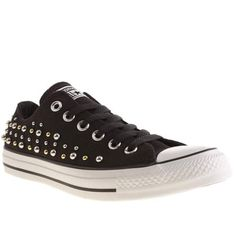 Tell me about it, Stud. These embellished beauts from Converse arrive in a cool black and metallic colourway to add an interesting twist to the iconic All Star Canvas Oxford silhouette. Branding and a vulcanised rubber sole finish nicely.
