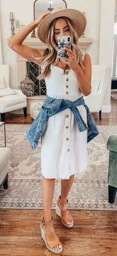Preppy Spring Outfits To Copy Right Now white sleeveless dress Spring Summer Fashion, Spring Outfits, Winter Outfits, Holiday Outfits, Summer Wear, Spring Style, Fall Fashion, Style Fashion, Simple Outfits