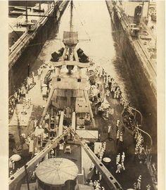 USS TEXAS at  Panama Canal c. 1925-1936