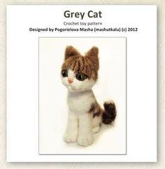 Grijze kat - pdf haak speelgoed patroon (amigurumi kitten patroon)