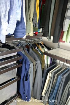 His Master Closet Makeover With Elfa System. Elfa ClosetClosetsContainer  StoreThe ...