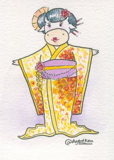 Geisha cow artist trading card watercolor painting