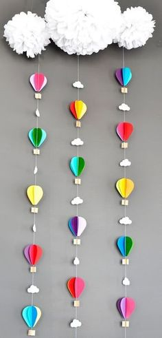 Hot Air Balloons with Tissue Pom Cloud, Up Up and Away, Birthday Party Decor, Nursery Decor, Photo prop 5 Balloons, Baby Shower Balloons, Balloon Garland, Birthday Balloons, Diy Hot Air Balloons, Balloon Crafts, Diy And Crafts, Crafts For Kids, Paper Crafts