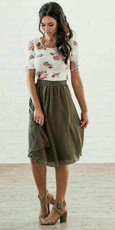 moss green skirt olive green skirt flirty and fun skirt elastic waist missy sizes modest length skirt gathered waist skirt side zipper modest skirt fun for bridesmai - The world's most private search engine Green Skirt Outfits, Skirt Outfits Modest, Modest Skirts, Cute Outfits, Midi Skirts, Rock Outfits, Midi Skirt Outfit Casual, Floral Shirt Outfit, Work Skirts
