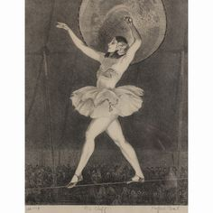 """Gifford Beal (1879 - 1956) Tight Rope Walker / circus performer lithograph pencil signed with personal dedication and """"100 imp"""". Son of William Reynolds Beal, and pupil of William Merritt Chase. plate only: 13 3/8"""" x 10 3/4"""""""