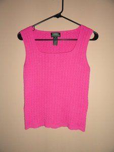 $18.99 Women's Lauren by Ralph Lauren Pink Sweater Tank Top Size: Medium