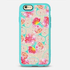 Pastel pink teal hand painted watercolor flowers by Girly Trend - New Standard Case